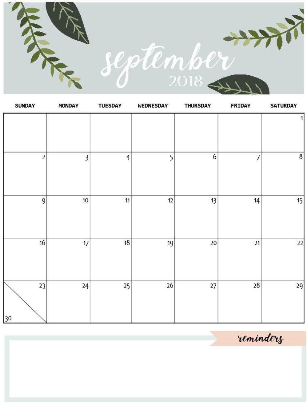 Cute Free Printable September 2018 Calendar Planner S