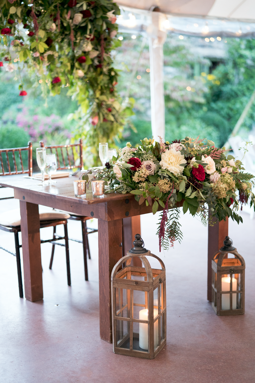 Rustic Sweetheart Farm Table With Lanterns Hanging