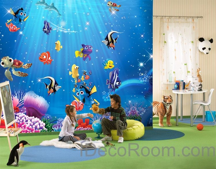 Charming 3D Fish Ocean Nemo Turtle Wallpaper Coral Dory Wall Paper Wall Decals Art  Print Mural Home Part 22