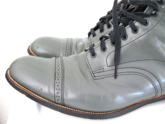Vintage STACY ADAMS Madison Men's Lace Up Boots Gun Metal Gray Size 12