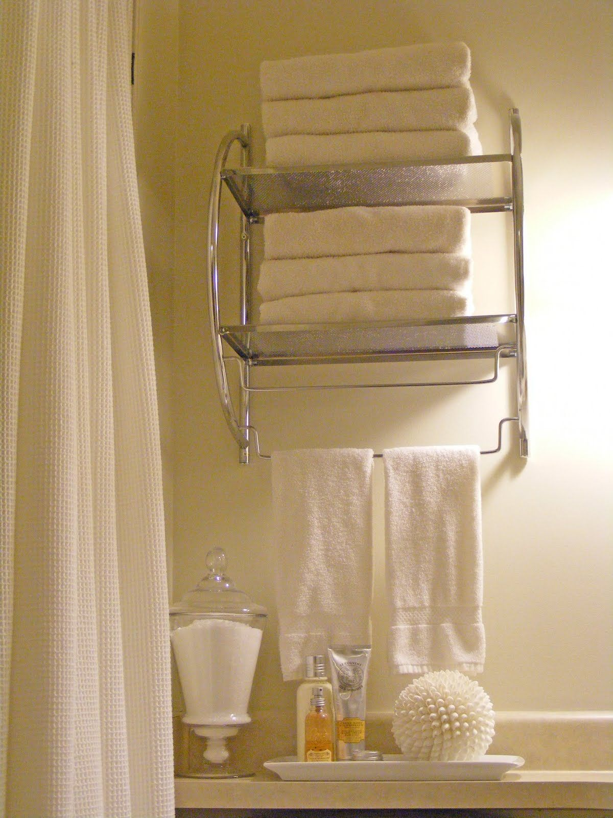 Above Toilet Organization With Epsom Salt Container Chrome Towel - White bathroom towel shelf for small bathroom ideas