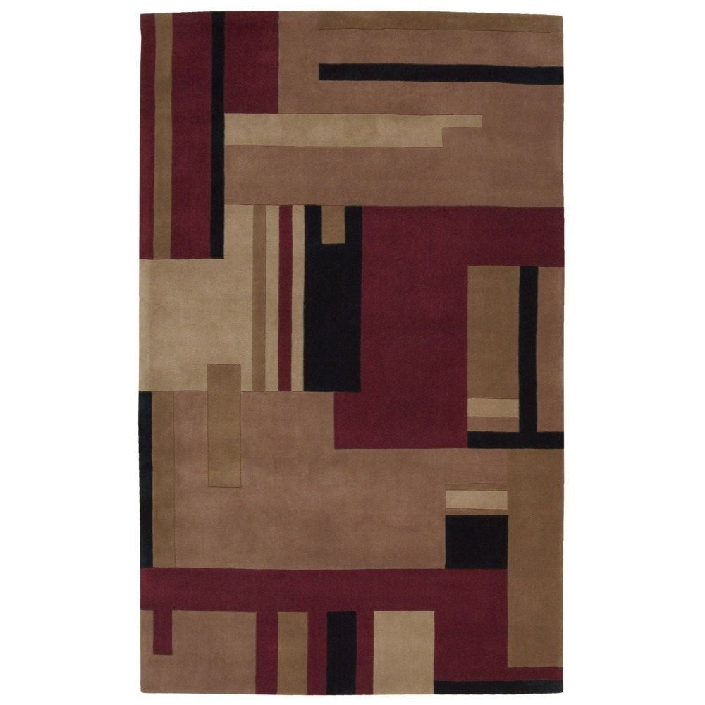 Nourison Dimensions Multicolor Wool Rug (5' x 8') (5' x 8'), Red, Size 5' x 8'