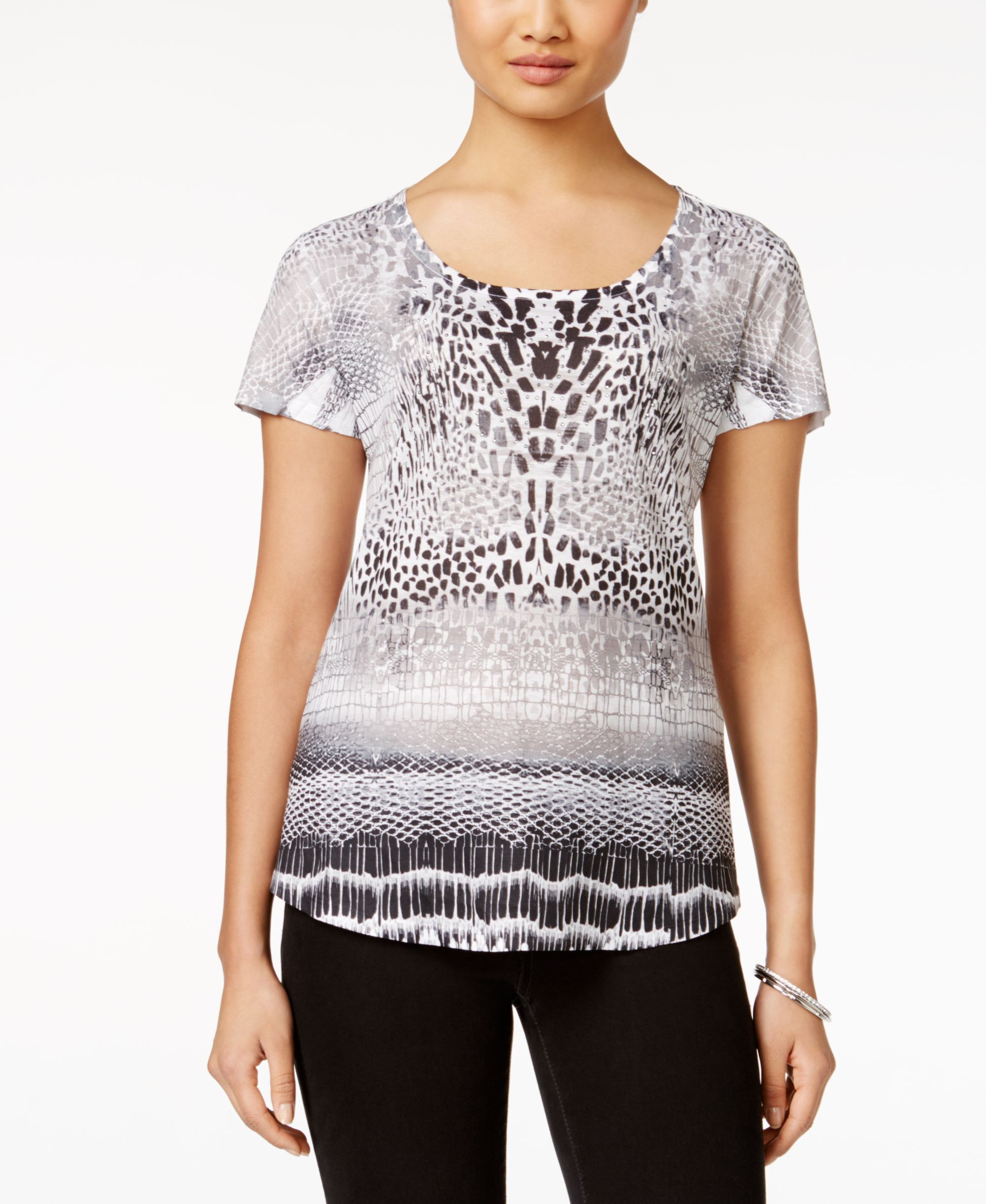 Style & Co. Printed Short-Sleeve Top, Only at Macy's