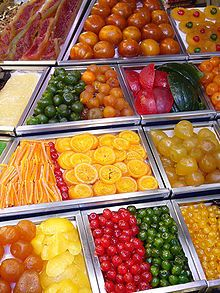 Old Louisville Recipe Book; fruit treats, from Kentucky Receipt Book, 1903 - how to make sugar plums, crystallize, glaze and candy fruit, candied watermelon rind etc. (Picture from Wikipedia; candied fruit displayed at La Boquería in Barcelona)