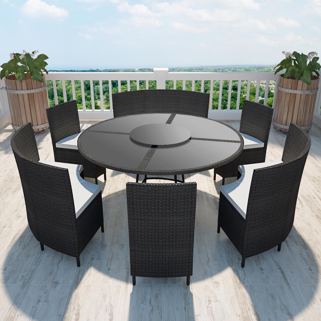 polyrattan 12-personen runder tisch und stühle set schwarz, Esszimmer dekoo