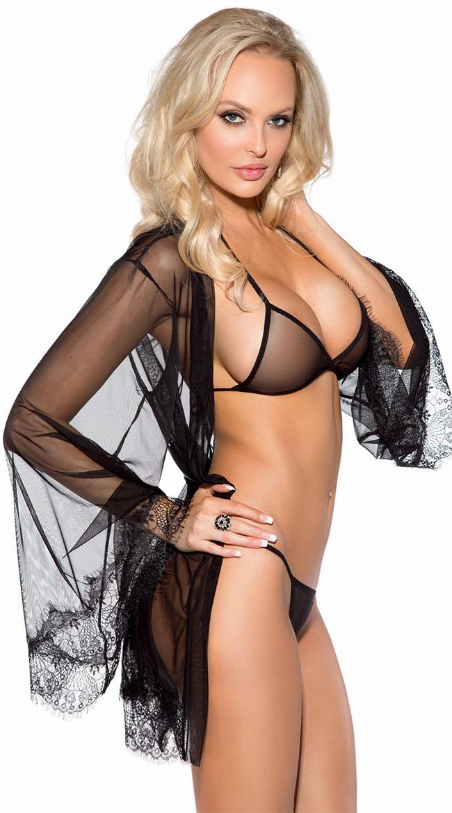 58a7762b469e1 Sheer Mesh and Eyelash Lace Robe Set, Black Robe Set, Sheer Lingerie Set