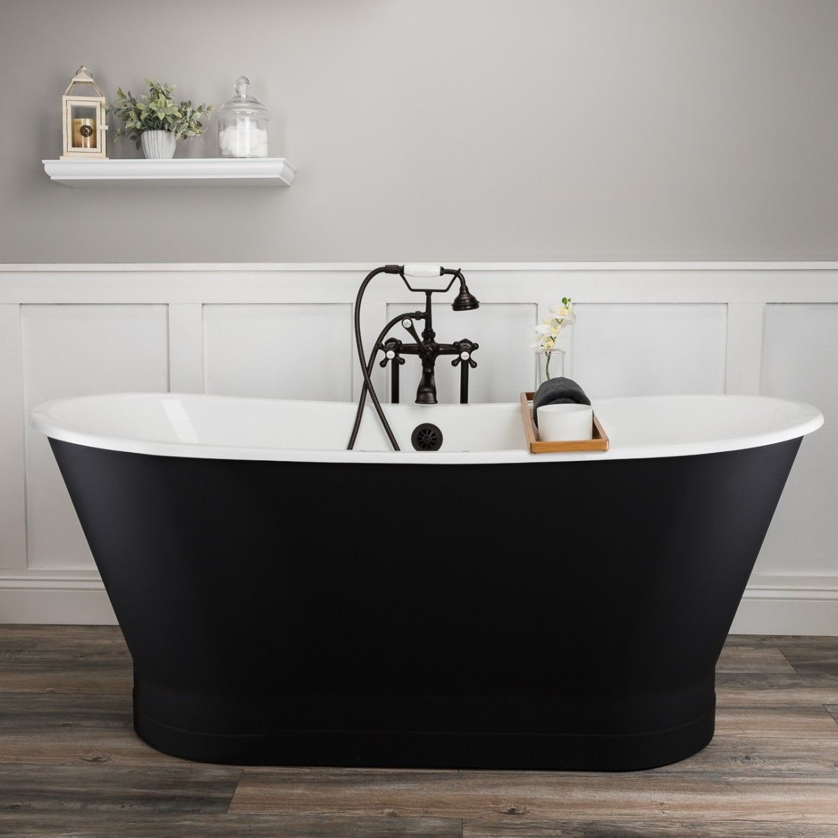 Devon 67 Inch Cast Iron Double Ended Skirted Tub No Faucet