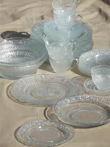 Newer Malaysia made pressed glass dishes a set for six all in excellent condition. This is a antique sandwich glass style pattern with a floral u2026 & Newer Malaysia made pressed glass dishes a set for six all in ...