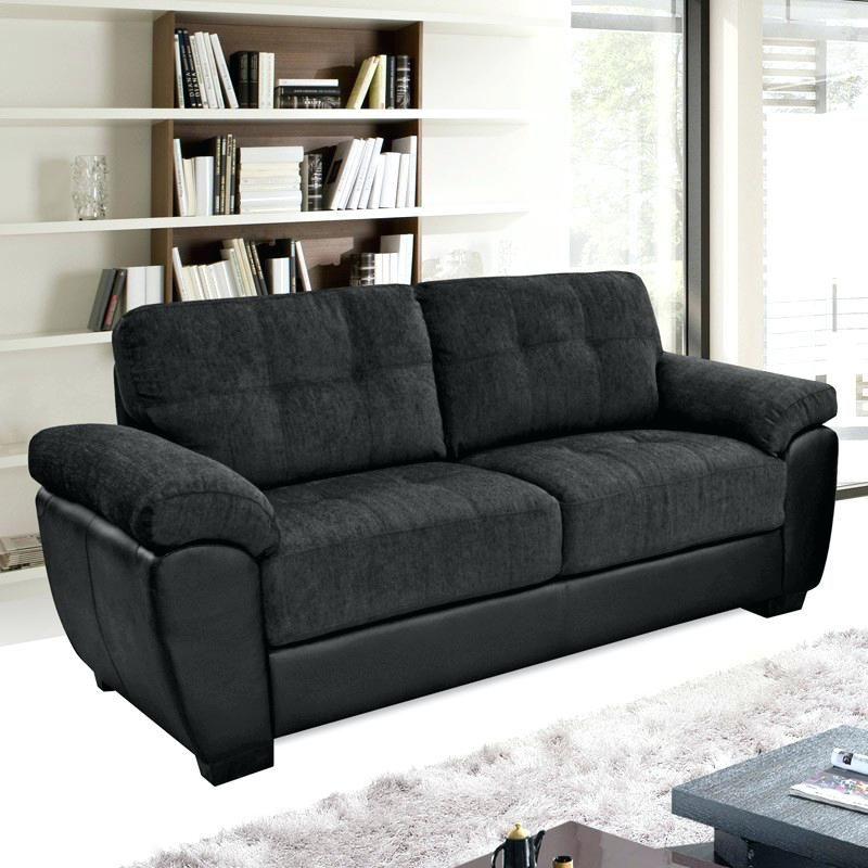 slate grey leather sofa | All Sofas for Home | Black fabric ...