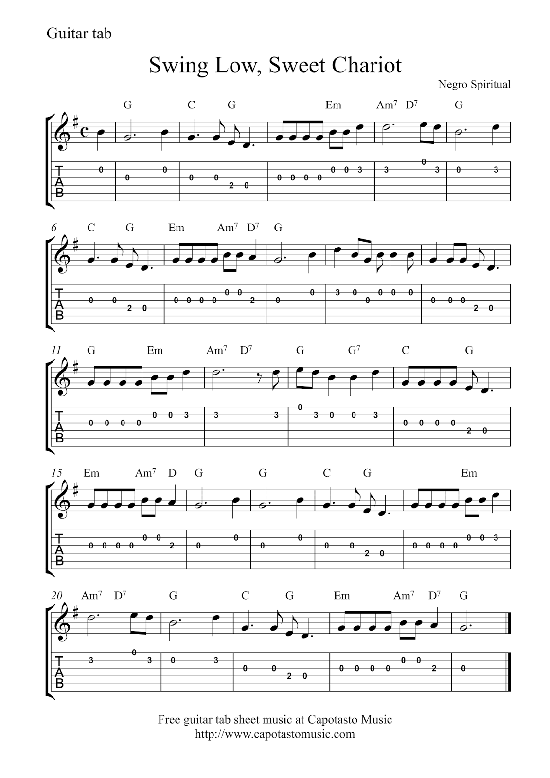 Swing low sweet chariot guitar tab melodyg 11311600 music easy guitar melody solo arrangement of the song swing low sweet chariot in g major the melody is notated with sheet music and chord symbol hexwebz Choice Image