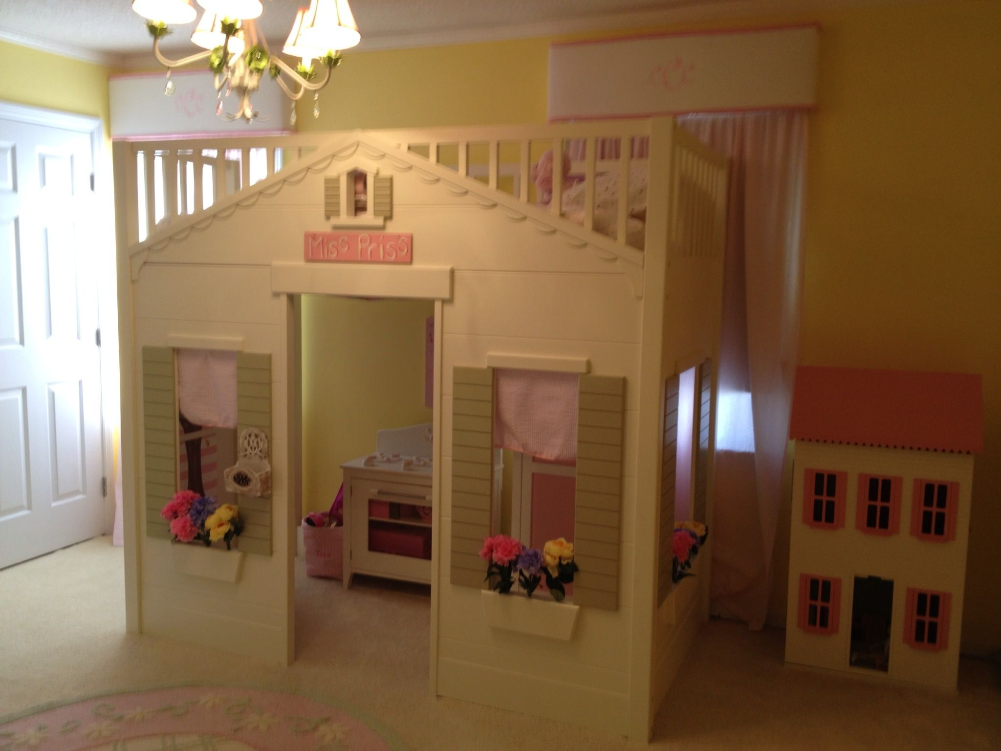 Pottery Barn Playhouse Bed With Flower Holes Drilled Into The