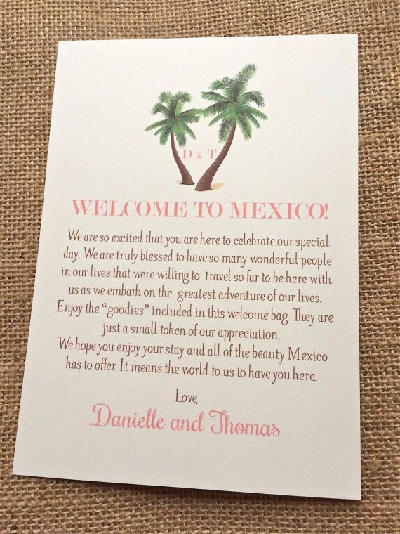 Wedding Welcome Letters With Palm Tree Design For Destination Beach Customizable Mexico Aruba Jamaica Turks And Caicos Punta Cana