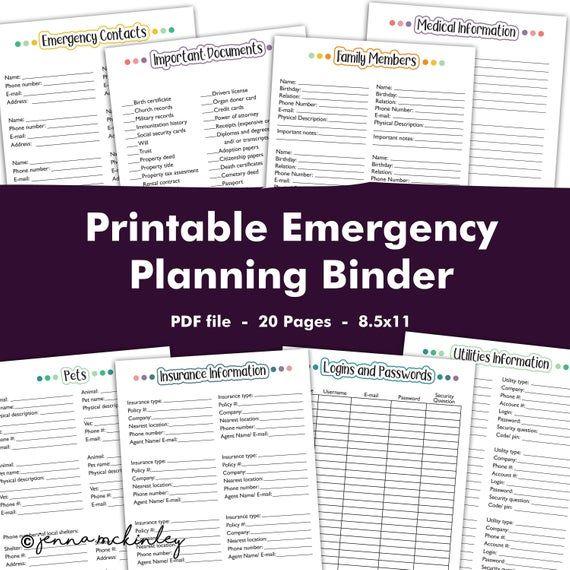 PRINTABLE Emergency Preparedness Planning Binder, Disaster