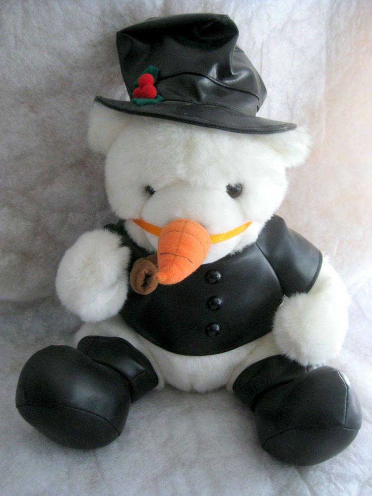 White Teddy Bear Snowman Winter Holiday Toy #ChristmasWinterHoliday