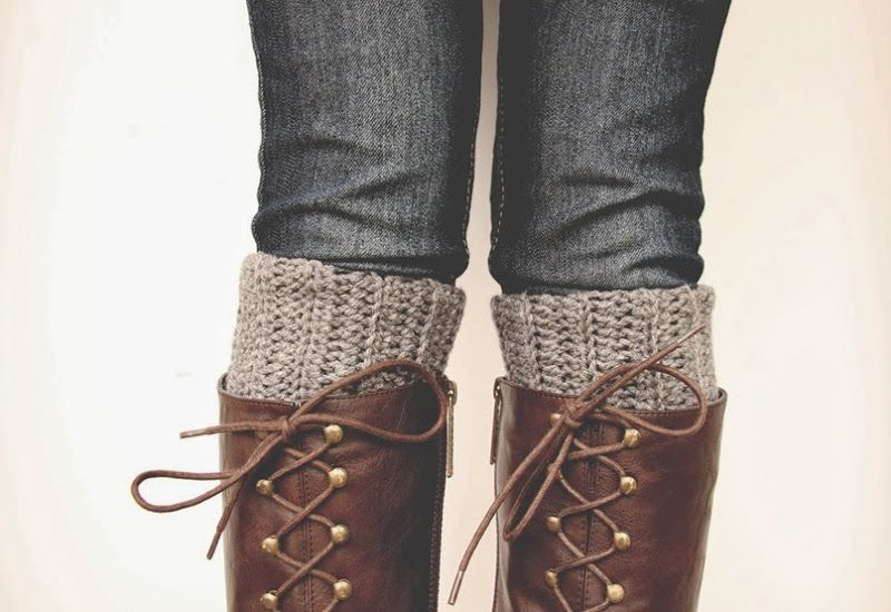 Crocheted boot cuffs and lace up boots