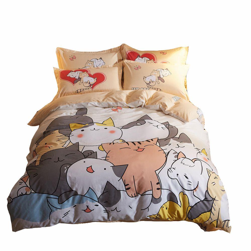 Cats Print Duvet Cover Set 100 Cotton Cartoon Bedding Set Twin Queen Size Soft Bed Sheets Pillow Case Duvet Cove Soft Bed Sheets Duvet Cover Sets Duvet Covers