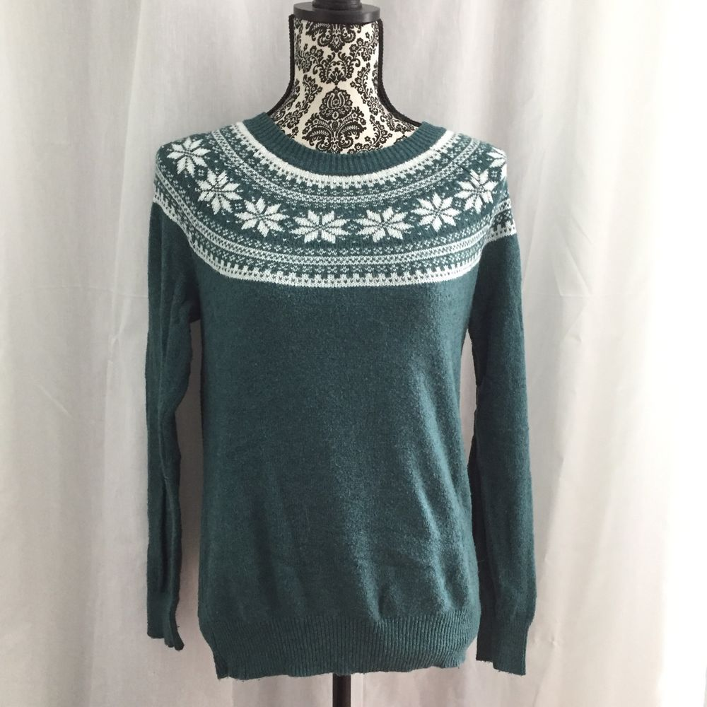 Ann Taylor Loft Fair Isle Crewneck Knit Sweater Green Cotton Blend ...