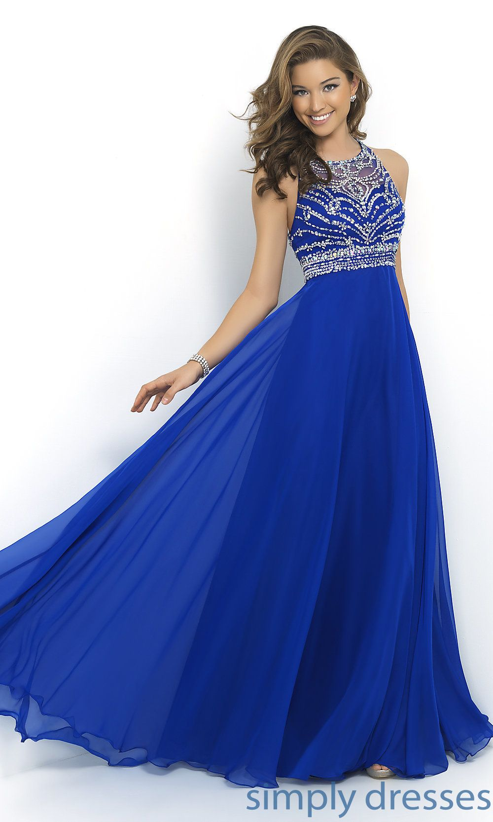 Blush high neck long gown prom pinterest prom long prom