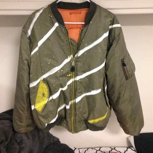 Old school bomber jacket Old school bomber jacket w/ hand painted ...