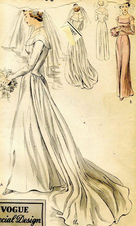 Vintage Vogue 4017 Misses Wedding Dress with Peplum by RomasMaison ...