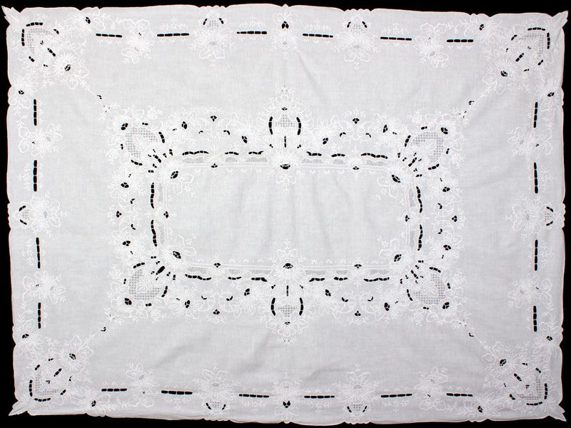 Hand Embroidery Linen Vintage Tablecloth