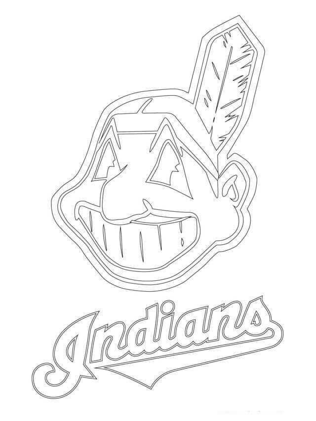 Major League Baseball Mlb Coloring Pages Cleveland Indians Logo Indian Logo Cleveland Indians Baseball