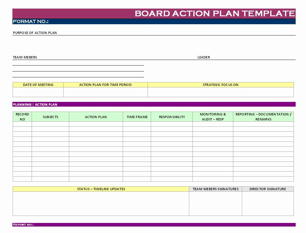 Excel Action Plan Template Luxury Action Plan form Excel