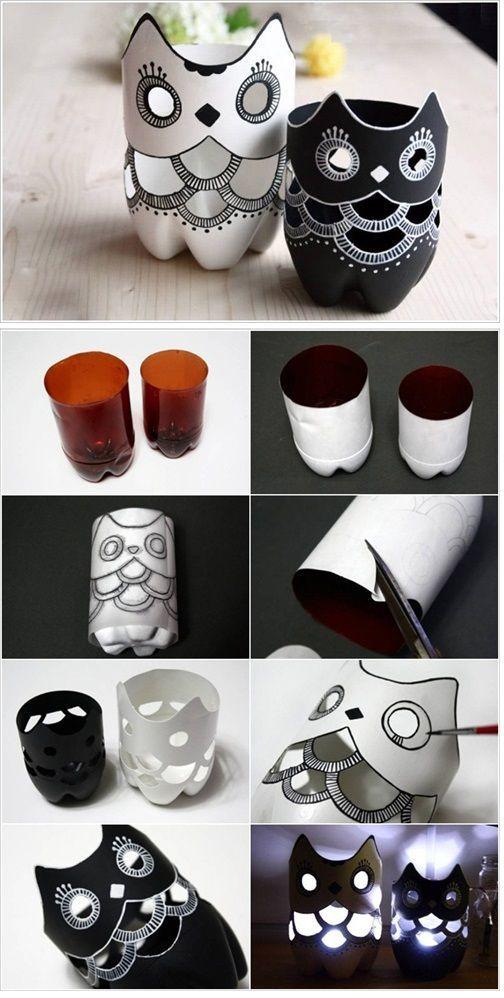 DIY Plastic Bottle Owl Vase you