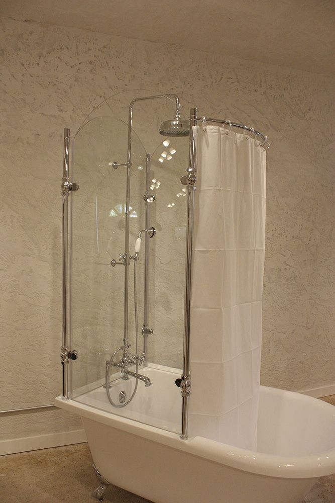 Oasis 59'' Extra Wide Clawfoot Shower Tub With Glass Shower