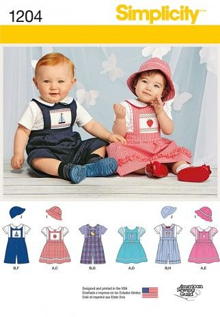 Simplicity Baby & Toddler Sewing Pattern 1204 Dresses & Overalls ...