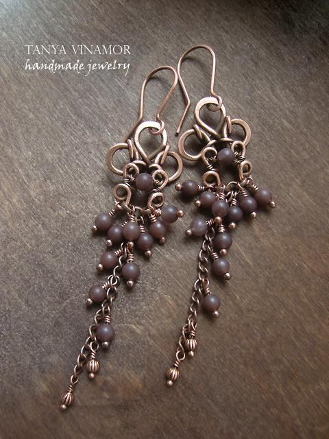 Love these! Copper earrings with quartz | Flickr - Photo Sharing!