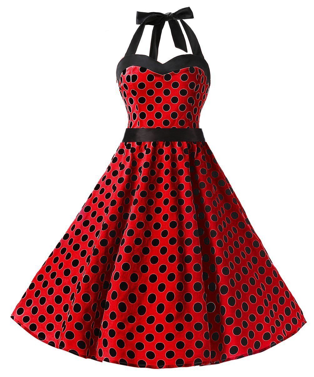Dresstells® Halter 50s Rockabilly Polka Dots Audrey Dress Retro ...