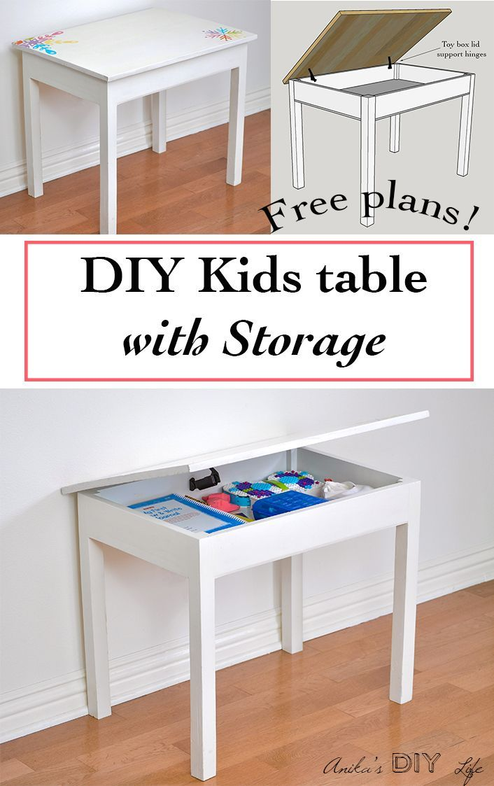 Easy Diy Kids Table With Storage Build Plans Anika S Diy Life Kids Table With Storage Diy Kids Table Diy Kids Desk