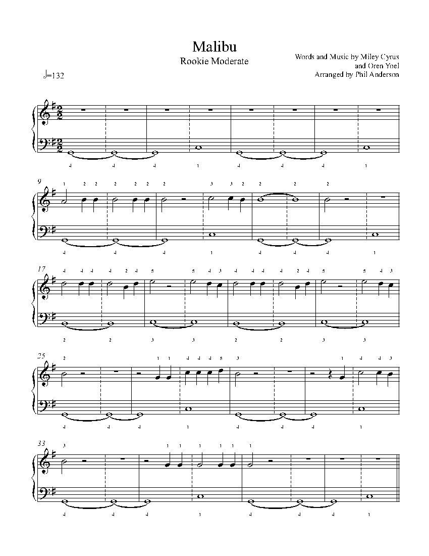 Malibu by miley cyrus piano sheet music rookie level malibu by miley cyrus piano sheet music rookie level hexwebz Gallery