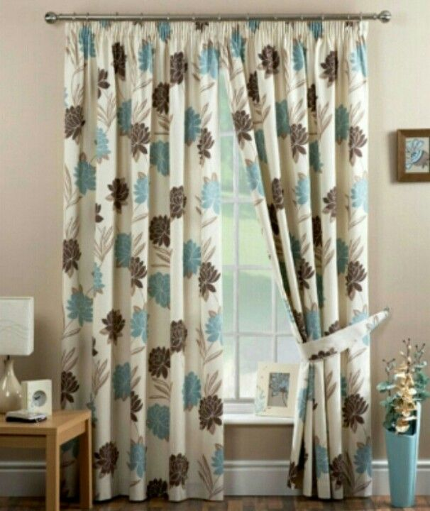 Pin By Soli On Home Decor Ideas Blue And Brown Curtains