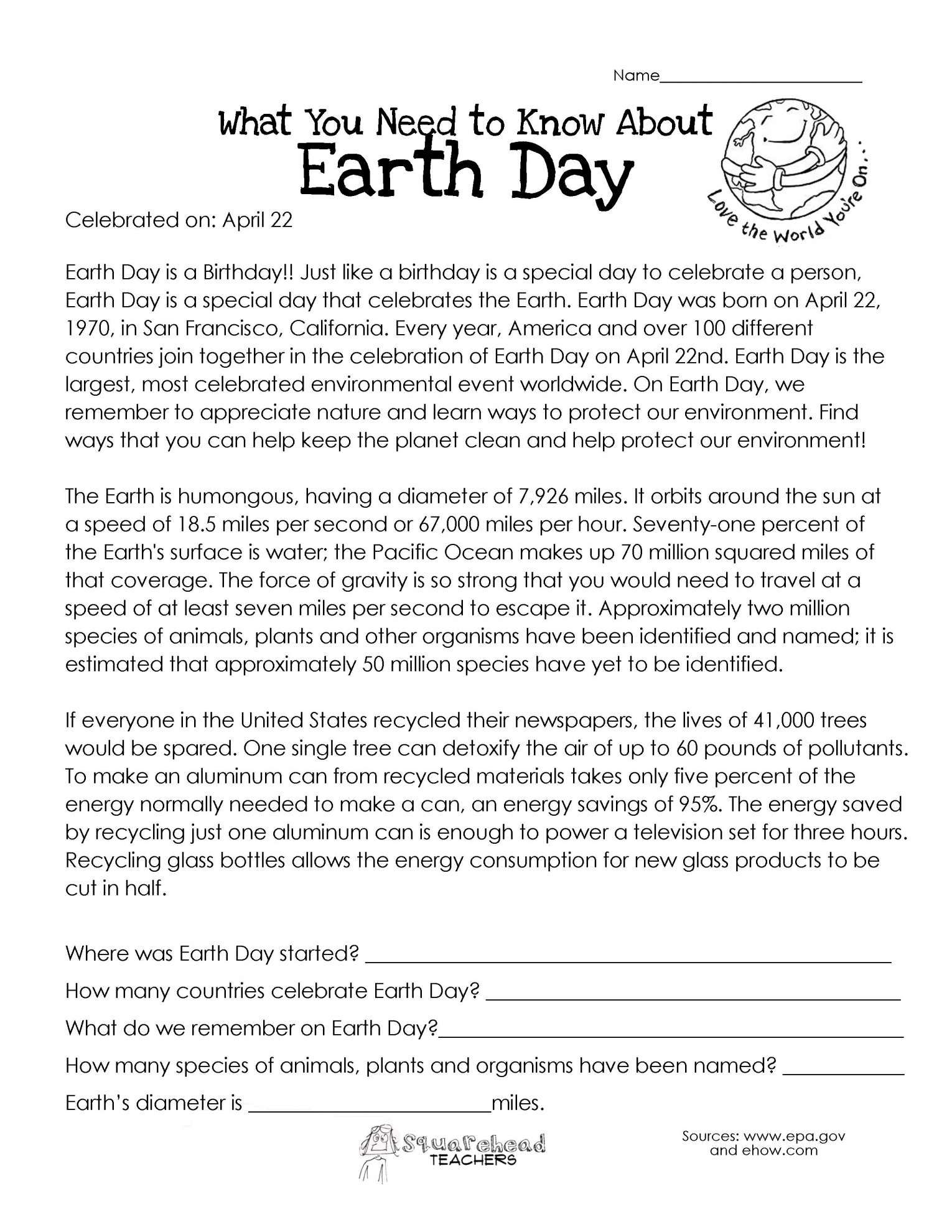 9 Earth Reading Comprehension Worksheetearth Day Reading