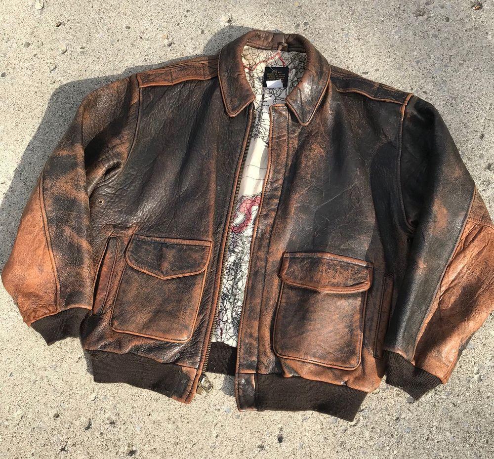 Vintage 1986 Avirex Type A2 Genuine Leather Bomber Jacket