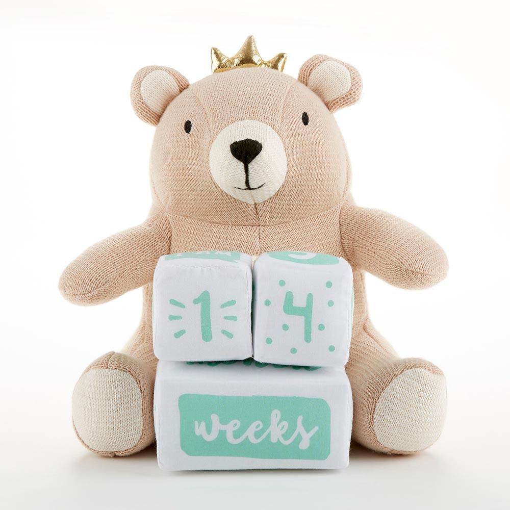 My First Milestone Brown Bear Plush Plus Baby Age Blocks Teddy Bear Baby Shower Decorations Baby Age Blocks Teddy Bear Baby Shower Theme
