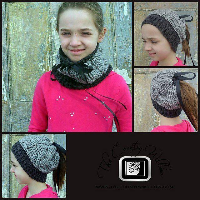18 free messy bun hat crochet patterns make a ponytail beanie - Hakelmutzen Muster