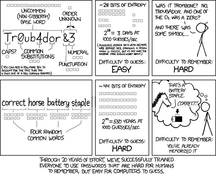 From xkcd and Lifehacker: How to create passwords that are both easy for you to remember and hard for computers to hack