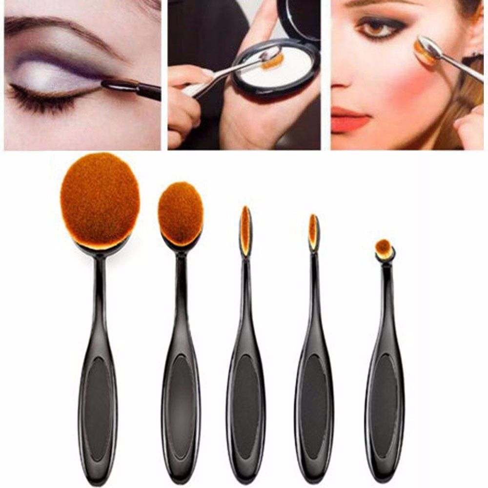 Feitong 5PC/Set Tooth Brush Shape Oval Makeup Brush Set