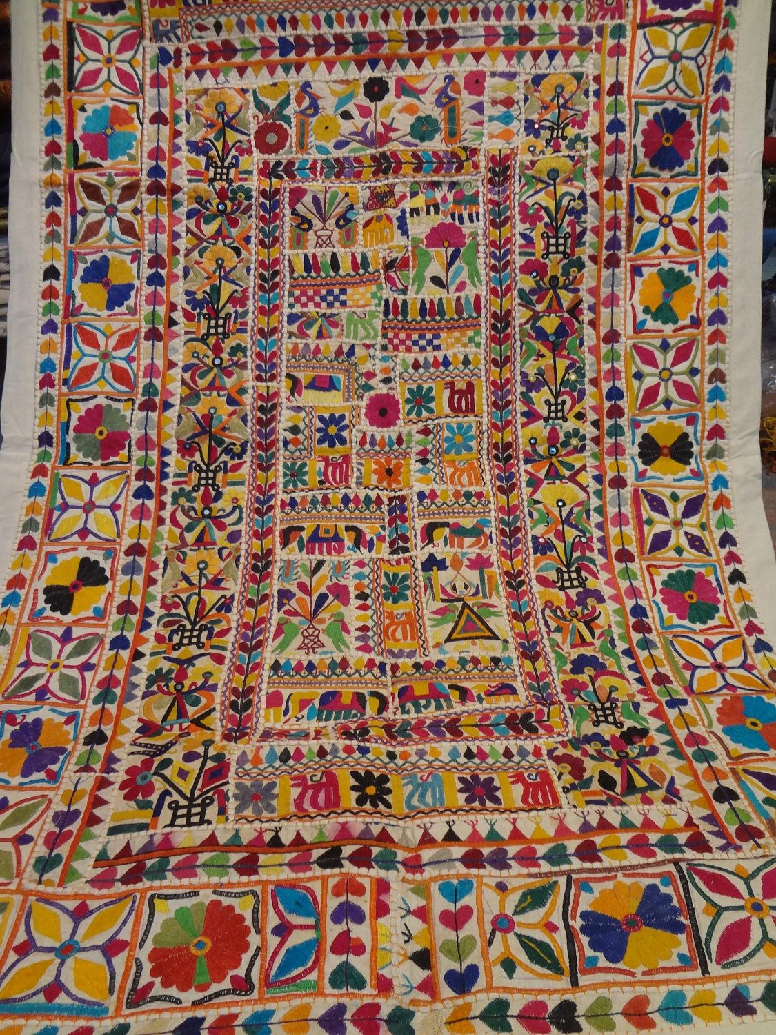 Handmade Old Patchwork Tapestry Made From Old Textiles From India