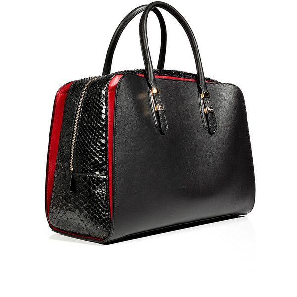 a229f5c56fb4 SALVATORE FERRAGAMO Black Red Leather Python Emmy Tote (3
