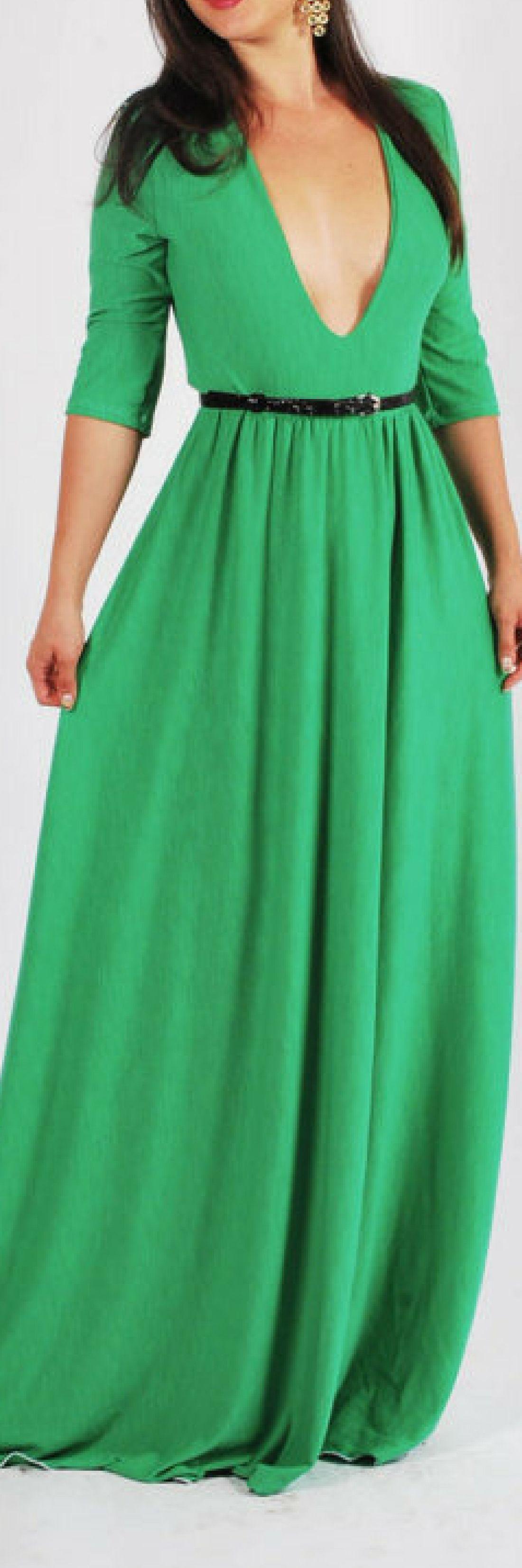 Green deep v neck printed lycra maxi dress maxi summer dress quarter