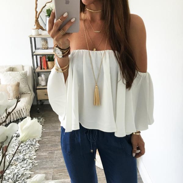 Blusa hombro descubierto | Moda estilo, Blusa de hombros