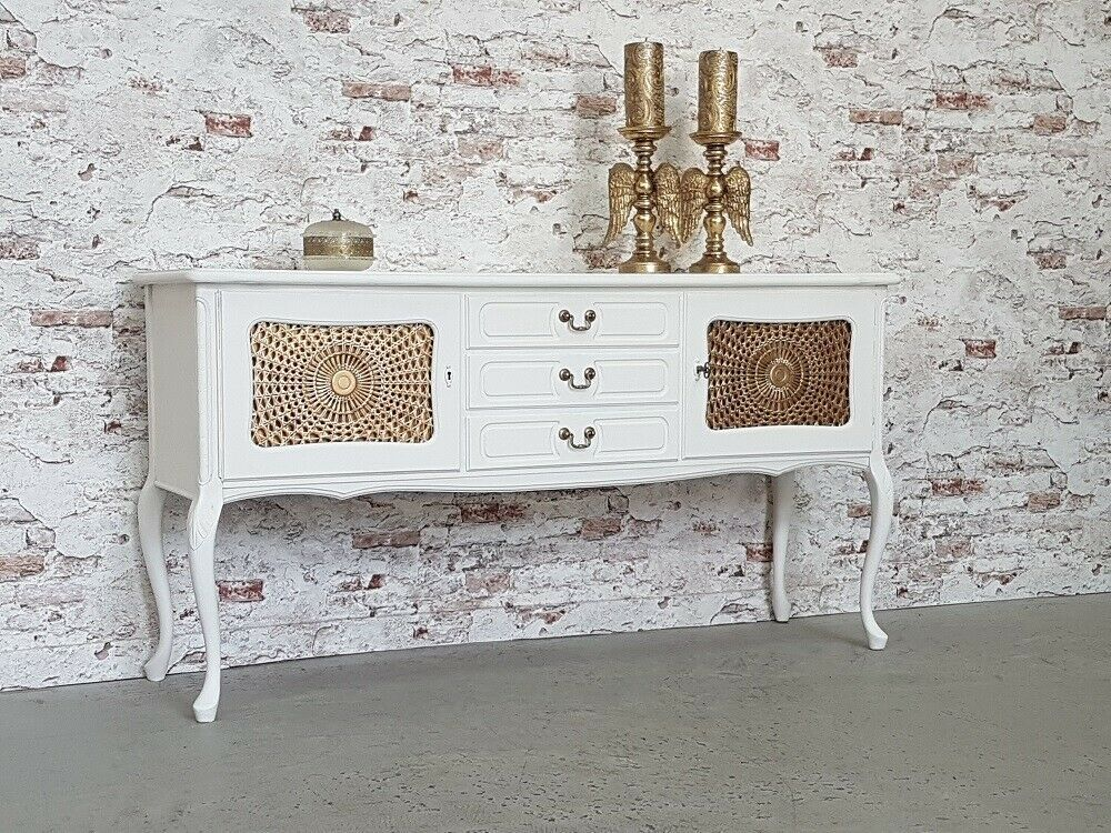 Anrichte Chippendale Sideboard Shabby Chic Antik Weiss Kommode Top
