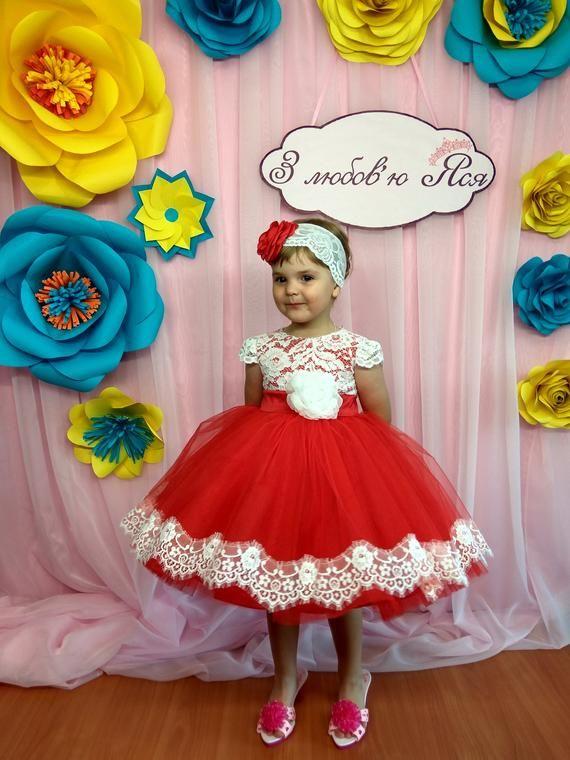 067dcbb48a64d Red Flower girl Dress Wedding Party Dress for girl Luxury Childrens ...