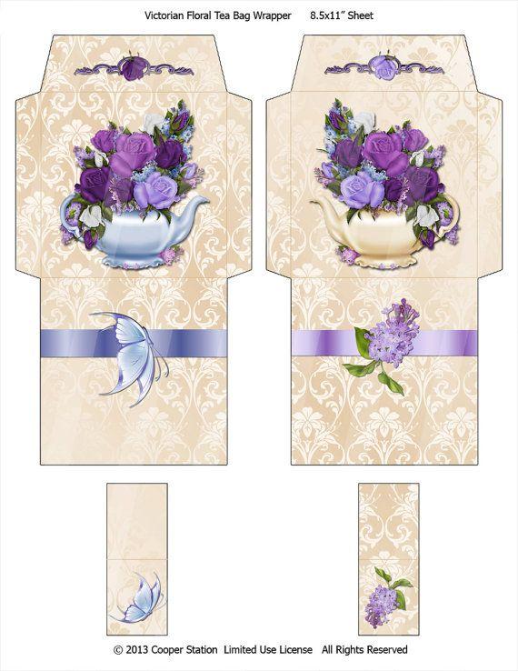 001 Digital Tea Wrapper Victorian Floral Design Paper tea
