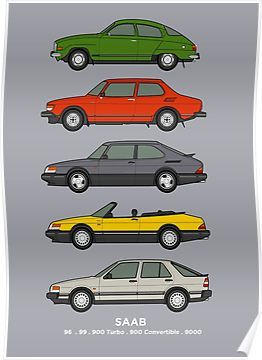 'Saab Classic Car Outline Illustration' Poster by RJWautographics