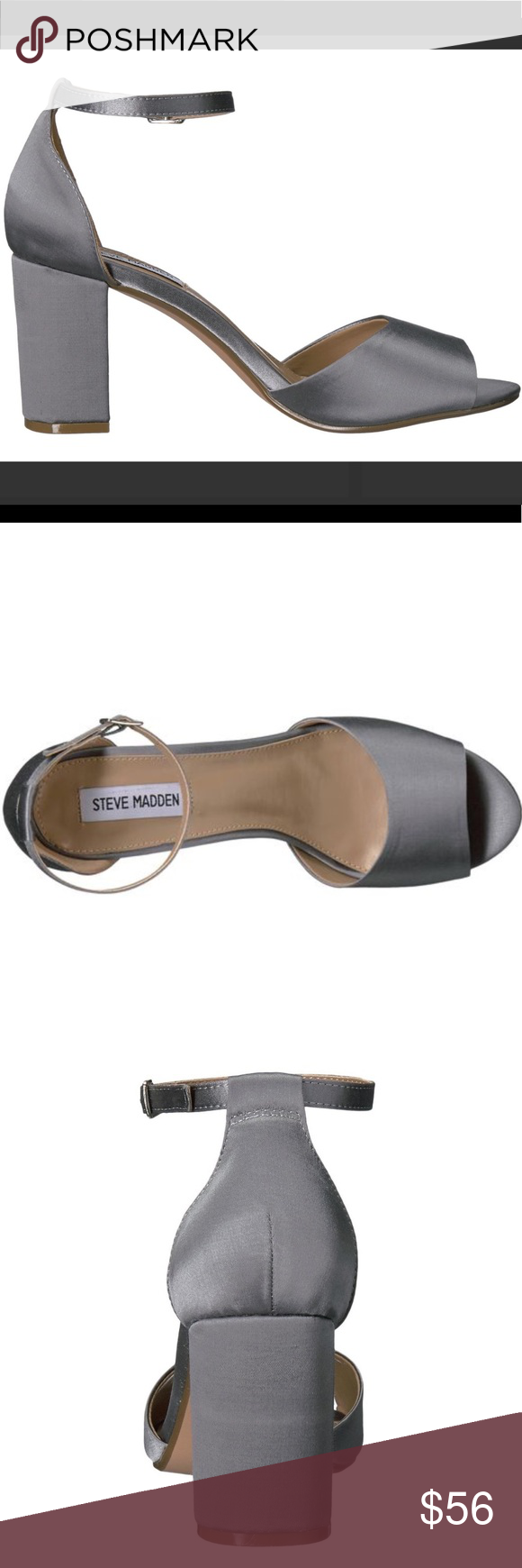 c80f3416908 Steve Madden mirna satin blue gray block heel Brand new without box. Sizes  available